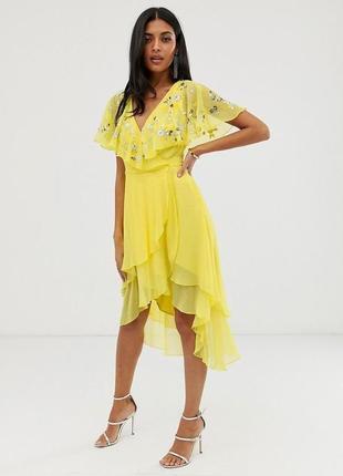 Жовтогаряча шифонова розшита бісером та паєтками сукня
