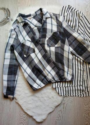 Теплая плотная натуральная блуза рубашка на запах с вырезом разноцветная в клетку полоску