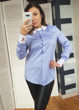 Необычная винтажная рубашка голубая