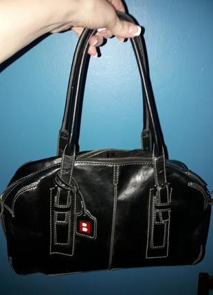 Черная сумка-саквояж, экокожа