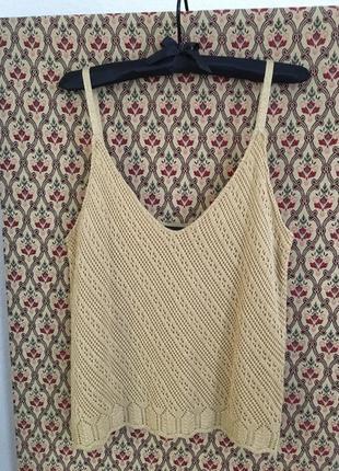 Топ бельевой стиль вязанный с люрексом ажурный нарядный