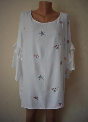 Новая нежная натуральная блуза с вышивкой большого размера george