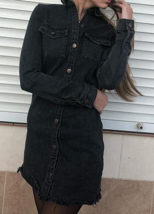 Джинсовое платье рубашка denim