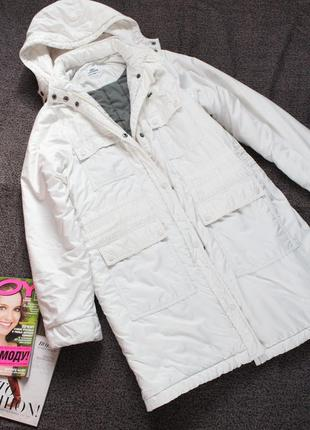 Белая длинная куртка лакост 40 размер л lacoste оригинал