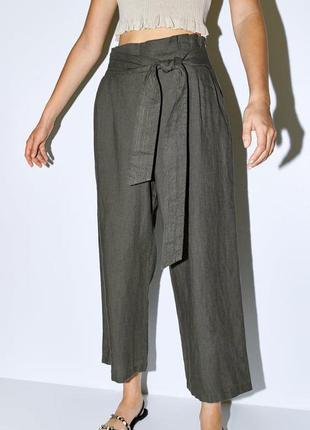 Кюлоты широкие штаны на поясе цвета хаки zara