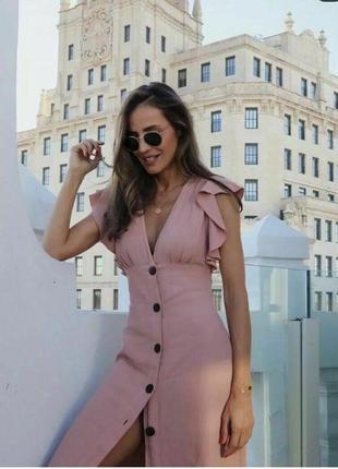Льняное платье миди нежно-розового цвета от zara