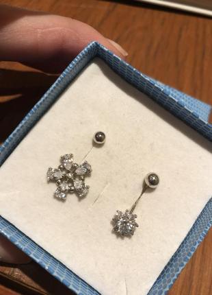 Сирежка для пірсингу пупка, срібло 925 проба, вставка цирконій