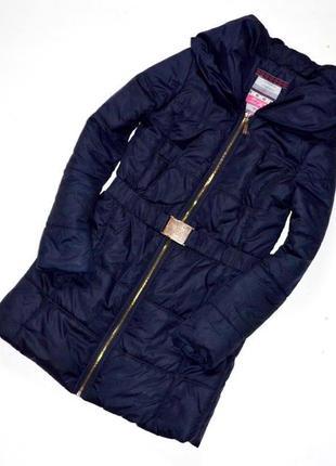Синее пальто на слое синтепона,демисезонное