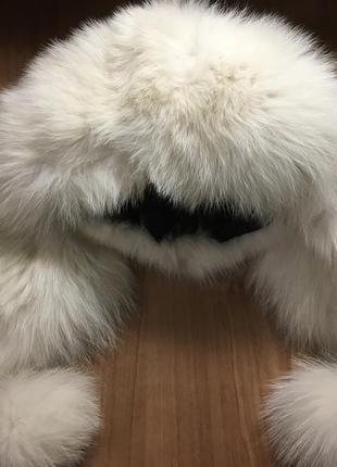 Зимняя шапка (настоящая кожа и мех песца)
