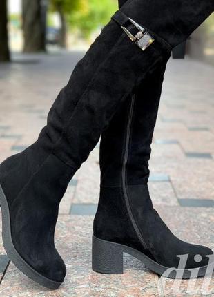 Сапоги ботфорты женские зимние замшевые кожаные черные