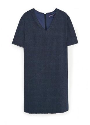 Mango violeta фактурное платье из хлопка и шерсти