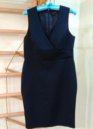 Классическое офисное темно-синее платье 12