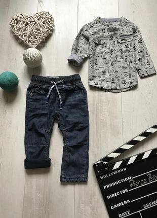 Набор утеплённые джинсы и рубашка 6-9 месяцев