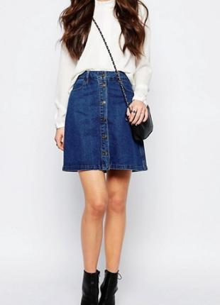 Only джинсовая юбка-трапеция на пуговицах спереди \ спідниця \ юбка \ skirt