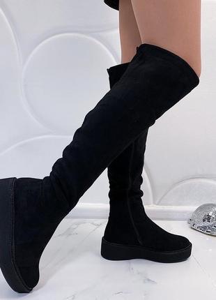 Новые женские черные зимние сапоги ботфорты