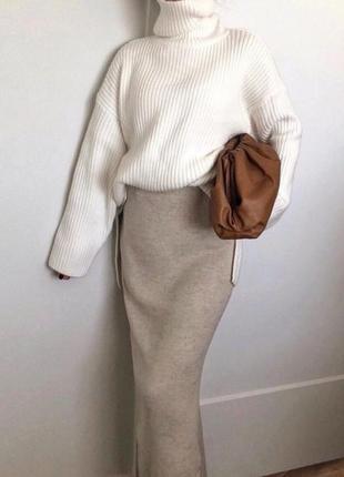 Шерстяная серая юбка миди карандаш трикотажная из альпаки вовняна сіра спідниця міді
