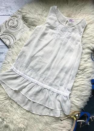Блуза прозрачная с вышивкой рюшами белая f&f