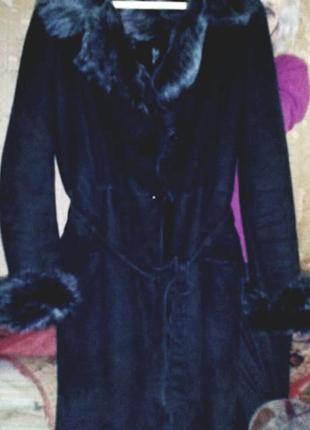 Дубленка чернобурка натуральная с капюшоном