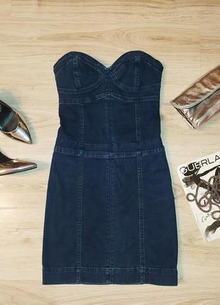 Джинсовое платье приталенное размер xs