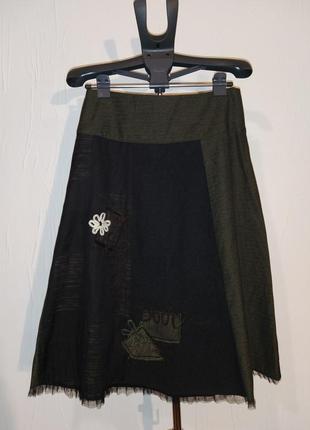 Дизайнерская шерстяная юбка миди