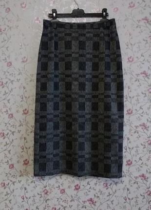 M-l шерстяная теплая серая юбка в клетку !