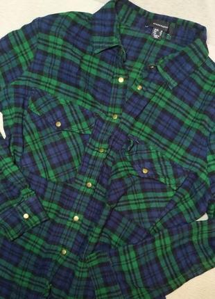 Рубашка в клетку свободная женская рубашка, теплая