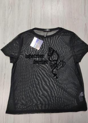 👑♥️final sale 2019 ♥️👑  прозрачная футболка с бархатным узором