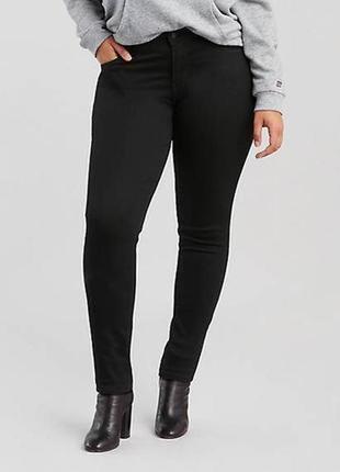 Теплые джинсовые черные брюки скинни/джинсы