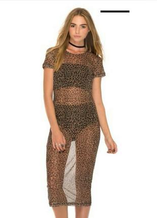 Платье сетка в леопардовый принт