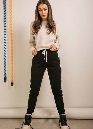 Теплые зимние штаны на флисе с начесом спортивные с полоской лампасом