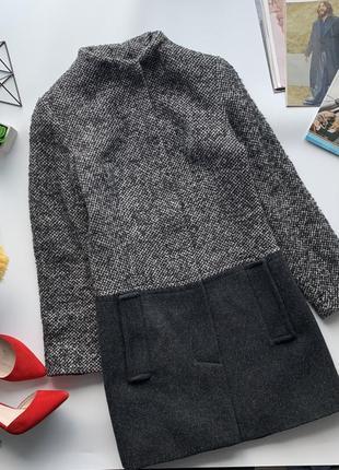 Шикарное шерстяное серое пальто прямого кроя zara / тёплое серое пальто zara