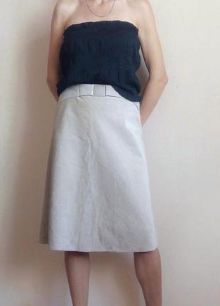 Бежевая вельветовая юбка миди с пряжкой