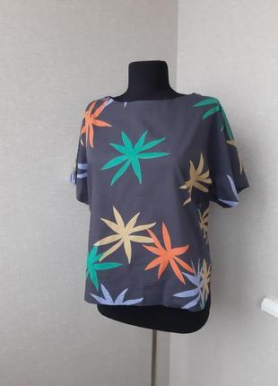 Коттоновая футболка, топ,блуза, блузка в тропический принт,оверсайз