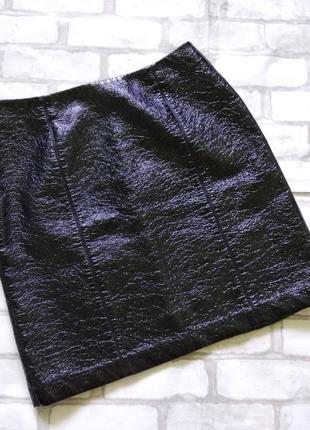 Теплая лаковая  юбка осень- зима.