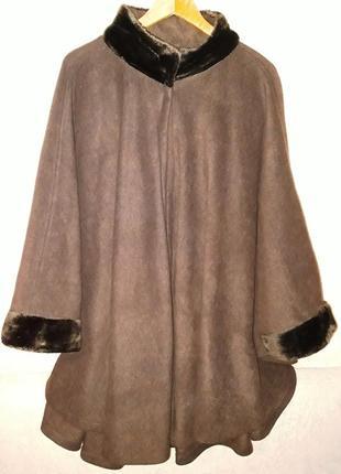 Ультра супер мега батал пальто пончо из плотного флиса размер 64-70