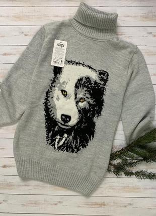 Натуральный свитер детский шерстяной волк