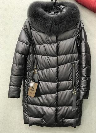 Теплое зимнее пальто эко кожа натуральный мех размер с новое