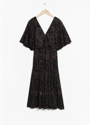 Нарядное вечернее платье. черное, шифоновое, other stories. cos. разлетающееся воздушное