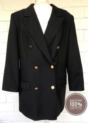 Винтаж! шерстяной удлиненный двубортный жакет пиджак с золотыми пуговицами. размер xxl.