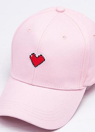 Бейсболка с сердечком головные уборы кепка панамка 13190