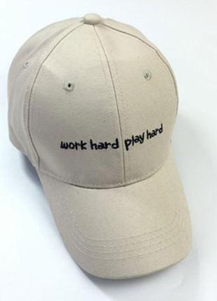 Бейсболка work hard play hard головные уборы кепка панамка шапка 1339