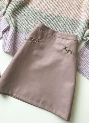 Кожаная юбка  с актуальными замочками
