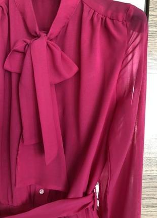 Шифоновое малиновое платье
