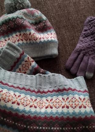 Шапка, шарф, перчатки сенсор