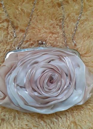 Сумочка клатч пыльная роза