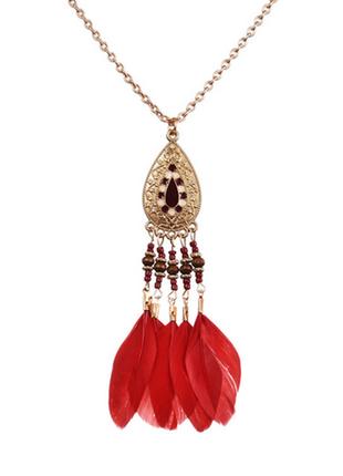 4-104 колье feather and beads новое