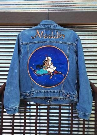 Роспись красками дисней алладин на джинсовой куртке джинсовка рисунок не принт