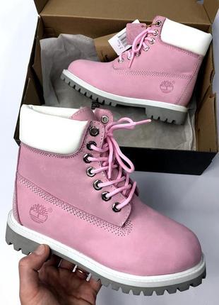 Чудесные женские зимние ботинки/сапоги timberland pink на тёплом меху
