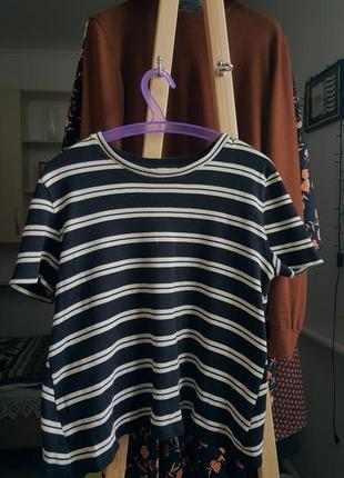 Женская футболка в полоску майка топ кофта на осень черная