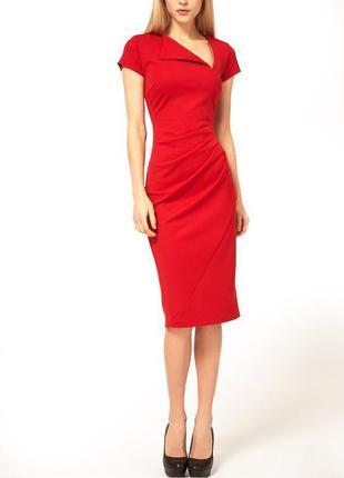 Платье-футляр asos миди с косым воротом и драпировкой спереди